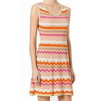 Missoni Orange Womens Size 14 Striped Kit Shimmer A-Line Dress