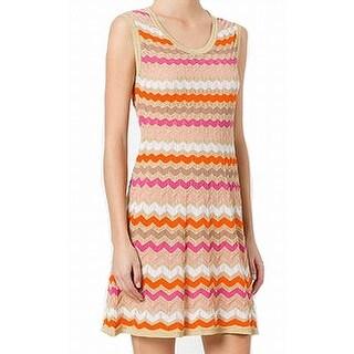 Missoni Orange Womens Size 14 Striped Kit Shimmer A-Line Dress
