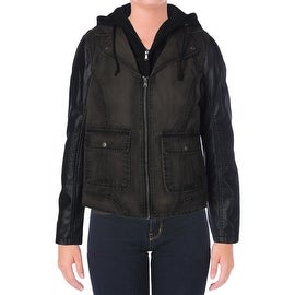 Kenneth Cole Reaction Womens Web Buster Fauz Leather Center Zip Jacket
