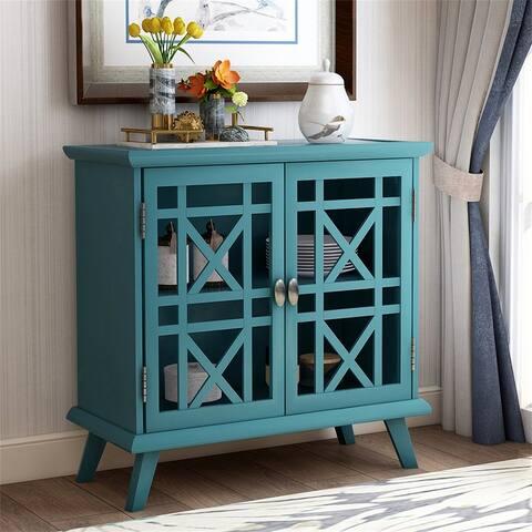 "TREXM Wood Door Accent Cabinet with Adjustable Shelf Storage Cabinet - 7'9"" x 9'9"""