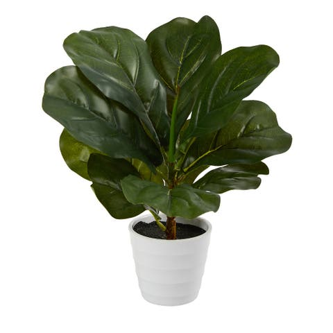 """11"""" Fiddle Leaf Artificial Plant in White Planter (Real Touch) - 3.25"""""""