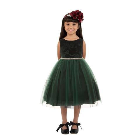 Kids Dream Girls Hunter Green Velvet Tulle Rhinestone Christmas Dress