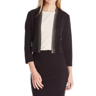 Calvin Klein NEW Black Womens Size Large L Rhinestone Trim Shrug Jacket