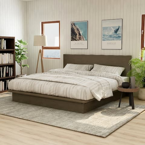 Furniture of America Puly Transitional Walnut Solid Wood Platform Bed