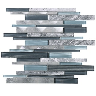TileGen. Slender Random Sized Mixed Material Tile in Blue/Gray Wall Tile (10 sheets/9.7sqft.)
