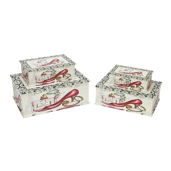"""Set of 4 Vintage-Style French Fashion Decorative Wooden Storage Boxes 13.75"""" - N/A"""