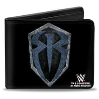 Roman Reigns Icon + Hit Hared Hit Often Diamond Plate Black Grays Blues Bi Bi-Fold Wallet - One Size Fits most