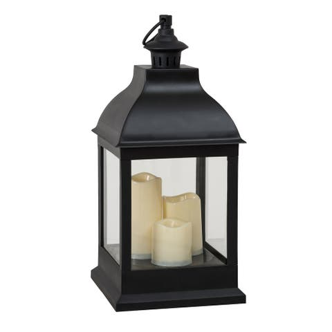 Sunjoy Classic Black Outdoor Battery Powered Lantern