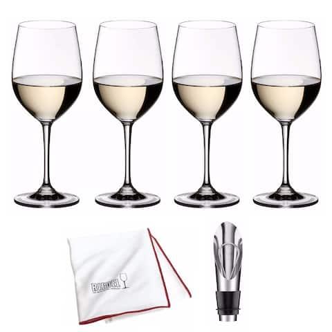 Riedel Vinum Viognier/Chardonnay Glasses (4) with Wine Pourer Bundle