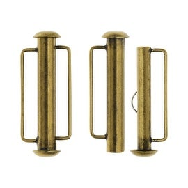 Slide Tube Clasps, with Bar Loops 26.5x10.5mm, 2 Pieces, Antiqued Brass Plated