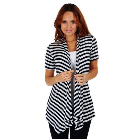 Simply Ravishing Stripe Short Sleeve Open Drape Cardigan (Size: S-3X)