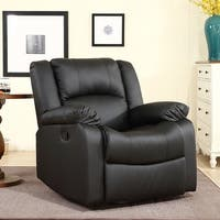 Belleze Swivel Glider Rocker Recliner Chair Overstuffed Armrest and Backrest Faux Leather, Black