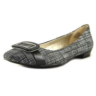 Anne Klein Elonie Women Square Toe Leather Black Flats