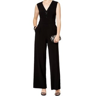 Vince Camuto NEW Black Women's Size 4 V-Neck Embellished Jumpsuit
