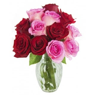 KaBloom Valentine s Day Romantic Bouquet of 6 Red and 6 Pink Roses with Vase