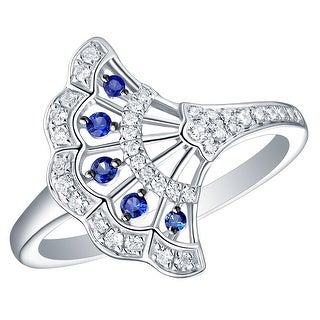 Prism Jewel 0.30CT Blue Sapphire with Natural Diamond Hand Fan Style Ring
