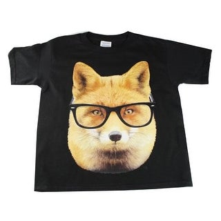 Little Kids Unisex Black Fox Wearing Glasses Print Short Sleeve T-Shirt (3 options available)