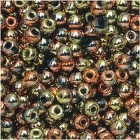 True2 Czech Glass, Round Druk Beads 2mm, 200 Pieces, Jet California Gold