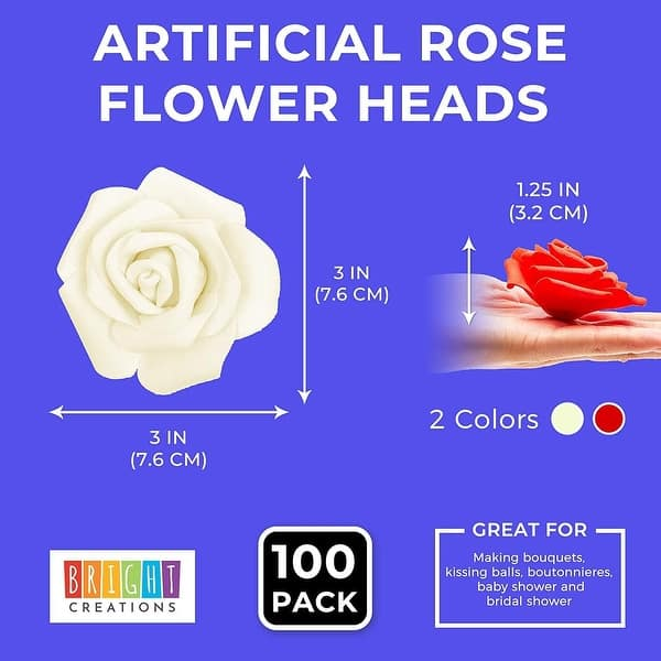 """100 Pack 3/"""" Red /& White Artificial Rose Fake Flower Heads for Flower Décor"""