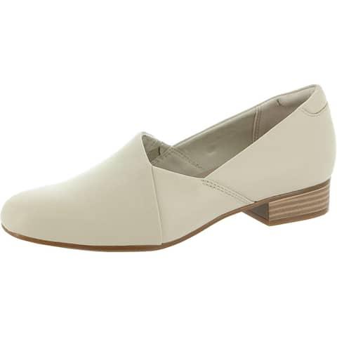 Clarks Womens Juliet Palm Loafer Heels Leather Slip On - Ivory