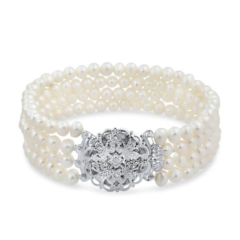 Vintage Style Strand Twist White Freshwater Cultured Pearl Bracelet
