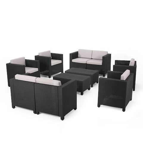Waverly Outdoor Faux Wicker 8 Seater Chat Set with Cushions by Christopher Knight Home
