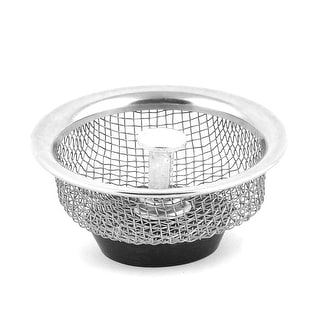 Home Stainless Steel Round Shaped Sink Leftover Strainer Stopper Silver Tone
