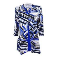 Kasper Women's Plus Size Flyaway Topper Jacket (18W, Cobalt Multi) - cobalt multi - 18W