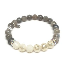 Grey Labradorite 'Jen' Stretch Bracelet, Crystal & Sterling Silver