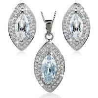 """Sterling Silver Marquise Cubic Zirconia Earrings and Necklace 18"""" Set"""