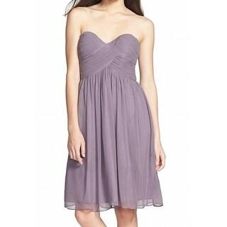 Donna Morgan NEW Purple Women's Size 14 Empire Waist Silk Dress