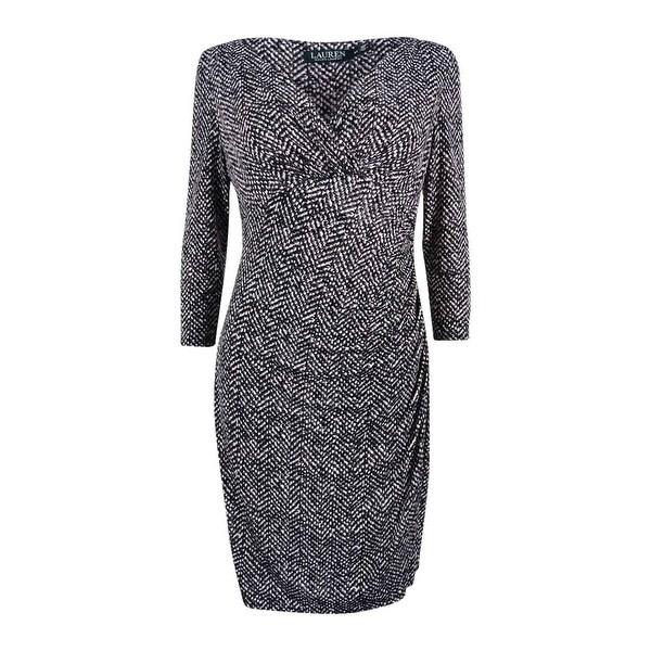 0de66fb2531041 Shop Lauren Ralph Lauren Women's Petite Printed Jersey Dress - Black/Stone  - Free Shipping On Orders Over $45 - Overstock - 19757380