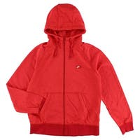 Nike Mens AW77 Full Zip Shoebox French Terry Hoodie Red