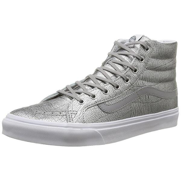 ffd5e6c923 Shop Vans Womens Foil Metallic Sk8-Hi Slim Sneaker - silver true ...