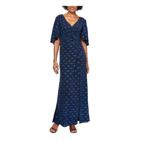 ALEX EVENINGS Blue Short Sleeve Maxi Dress 14