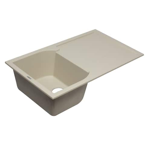 "ALFI brand AB1620DI-B Biscuit 34"" Single Bowl Granite Composite Kitchen Sink with Drainboard"