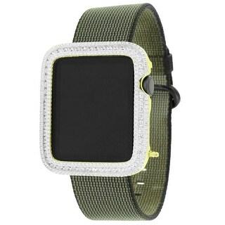 42mm Apple Watch iOS Touch Gold Tone Lab Diamond Green Nylon Band Custom