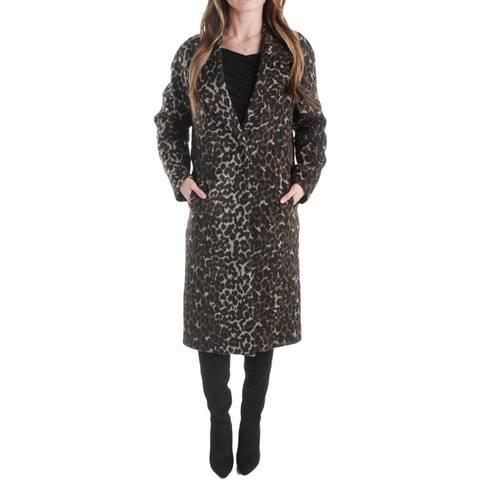 T Tahari Womens Alira Midi Coat Animal Print Fashion