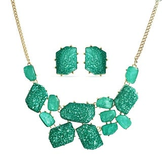 Bling Jewelry Green Cluster Bib Necklace Stud earrings Set Gold Plated