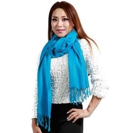 """Fringed Pashmina Silk Large Scarf, 27""""x72"""", Turquoise"""