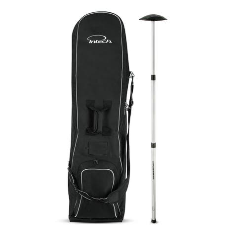 Intech Golf Travel Cover with Wheels Bundle with Intech Crossbar Golf Travel Bag Support Rod