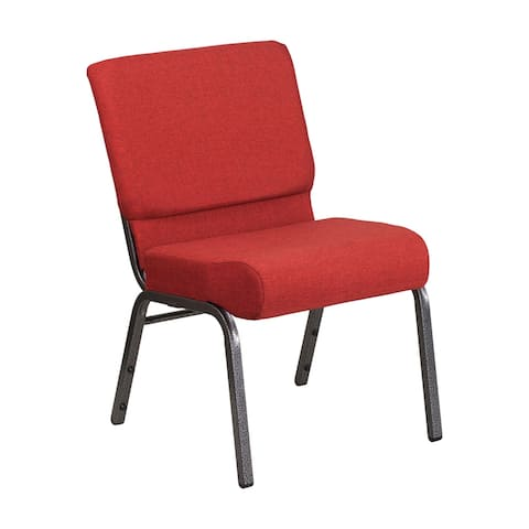 Offex 21''W Stacking Church Chair in Crimson Fabric - SilverVein Frame