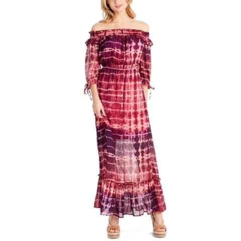 Jessica Simpson Pink Womens Size Small S Off-The-Shoulder Maxi Dress