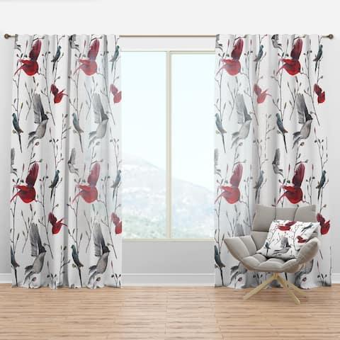 Designart 'Pattern with Birds' Farmhouse Curtain Panel