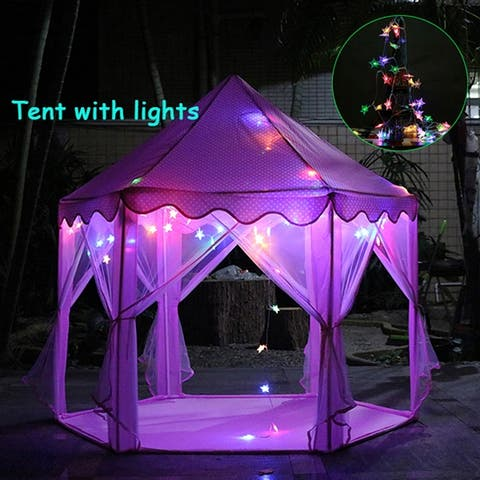 Princess Castle Play Tent Hexagon Indoor Fairy Castle Tent w/LED Light