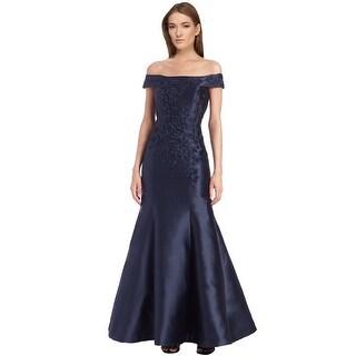 Teri Jon Floral Applique Off Shoulder Evening Gown Dress - 12