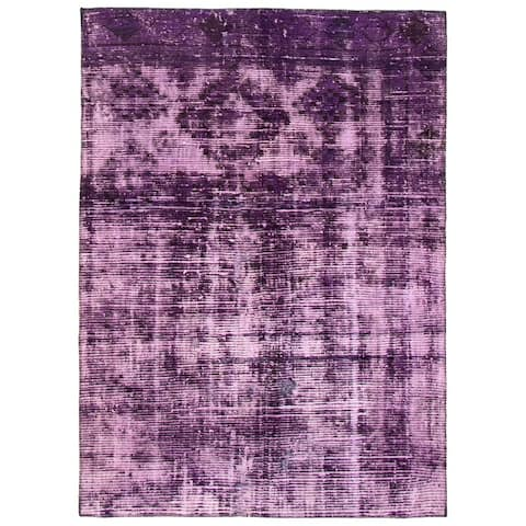 """Hand-knotted Color Transition Purple Wool Rug - 4'9"""" x 6'7"""""""