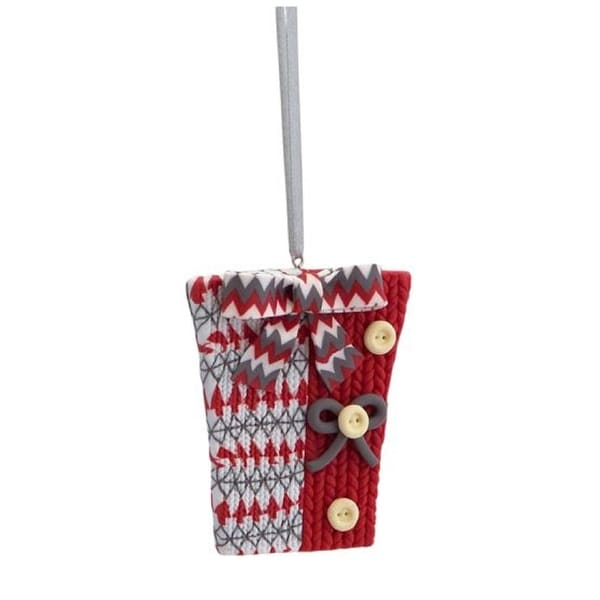 "3.25"" Alpine Chic Red, White and Gray Knit Style Gift Box Christmas Ornament"