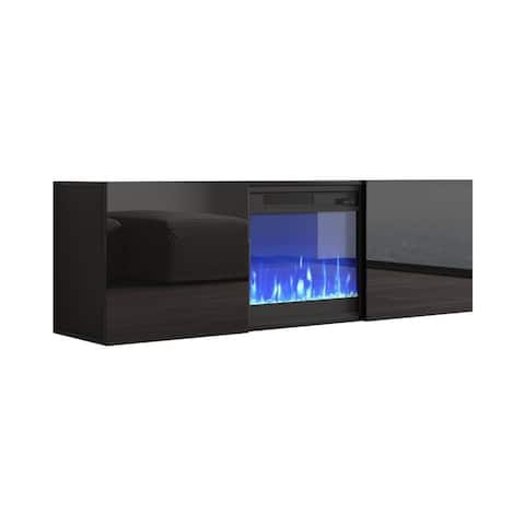 """Tahoe Wall Mounted Electric Fireplace Modern 58"""" TV Stand"""