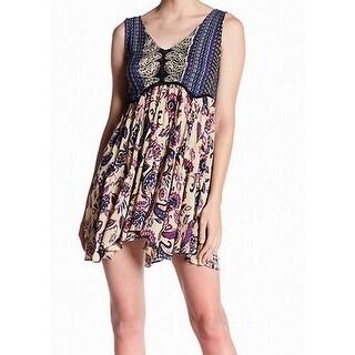 Angie Womens Medium V-Neck Paisle-Print Shift Dress